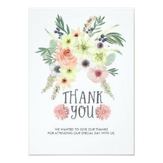 Cartões de agradecimentos do buquê floral |