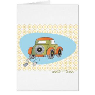 Cartões de agradecimentos do casamento - carro