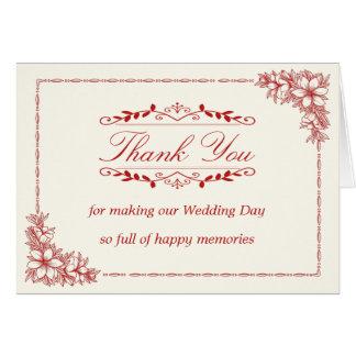 Cartões de agradecimentos do casamento com