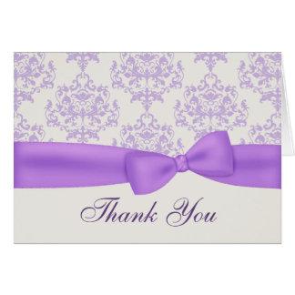 Cartões de agradecimentos do casamento da lavanda