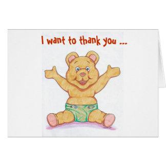 Cartões de agradecimentos do chá de fraldas