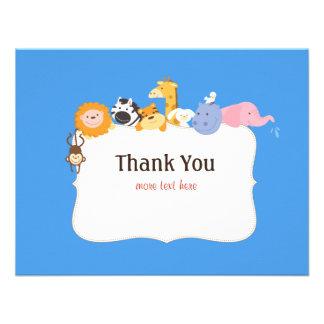 Cartões de agradecimentos do chá de fraldas da arc convites personalizados