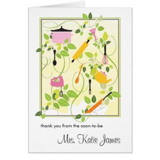 Cartões de agradecimentos do chá de panela