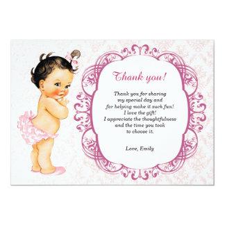 Cartões de agradecimentos do damasco do bebê do