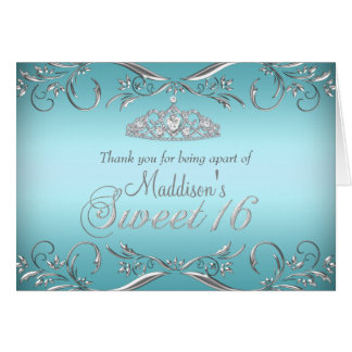 Cartões de agradecimentos do doce 16 da tiara da