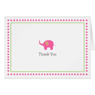 Cartões de agradecimentos do elefante cor-de-rosa