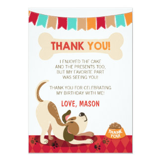 Cartões de agradecimentos do filhote de cachorro convite 12.7 x 17.78cm