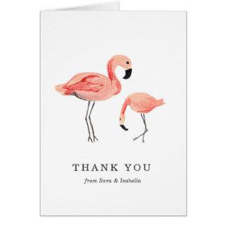 Cartões de agradecimentos do flamingo