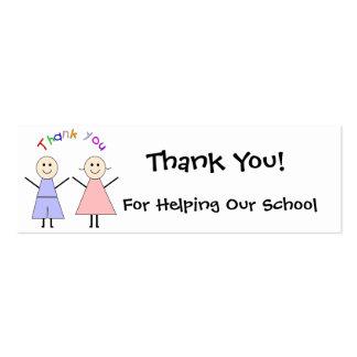Cartões de agradecimentos do Fundraiser da escola Cartão De Visita Skinny