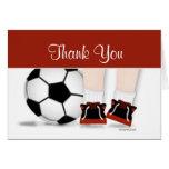 Cartões de agradecimentos do futebol no vermelho