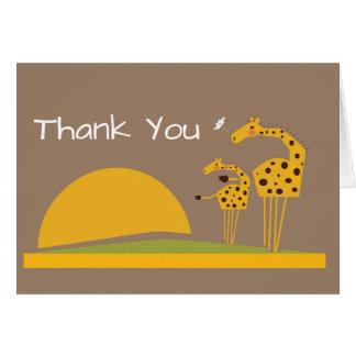 Cartões de agradecimentos do girafa da selva do