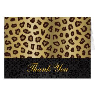 Cartões de agradecimentos do impressão do leopardo
