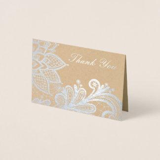 Cartões de agradecimentos do laço | Kraft do