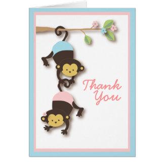 Cartões de agradecimentos do macaco do gêmeo da