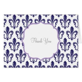 Cartões de agradecimentos do marinho/lavanda