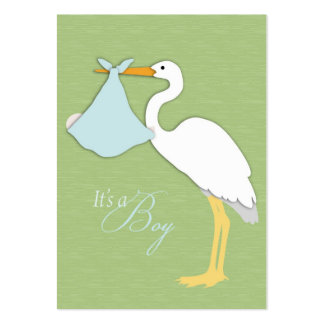 Cartões de agradecimentos do menino da cegonha cartão de visita grande