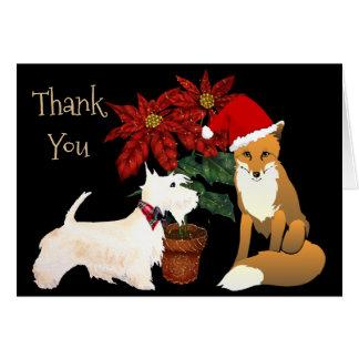 Cartões de agradecimentos do Natal com Fox