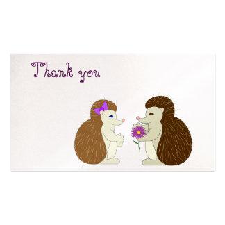 Cartões de agradecimentos do ouriço cartão de visita