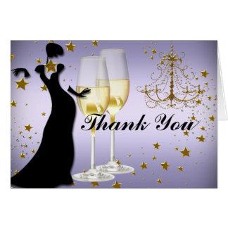 Cartões de agradecimentos do ouro do champanhe