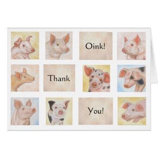 Cartões de agradecimentos do porco