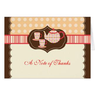 Cartões de agradecimentos do pote do chá das