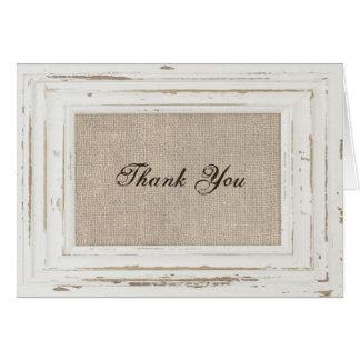 Cartões de agradecimentos do quadro rústico branco