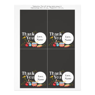 Cartões de agradecimentos do tema da música