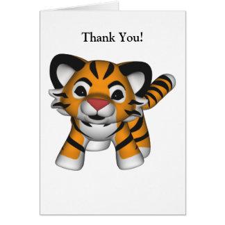 Cartões de agradecimentos do tigre de Kawaii