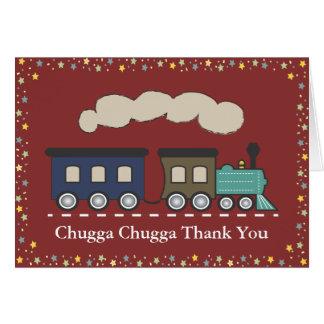 Cartões de agradecimentos do trem - vermelho