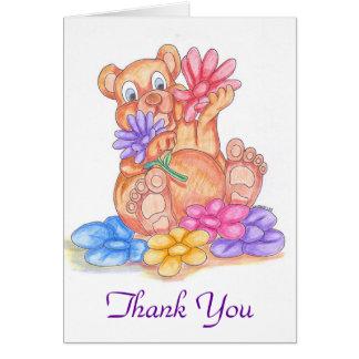 Cartões de agradecimentos do urso adorável e das f