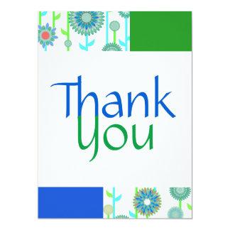 Cartões de agradecimentos do verde azul da cerceta convite 16.51 x 22.22cm