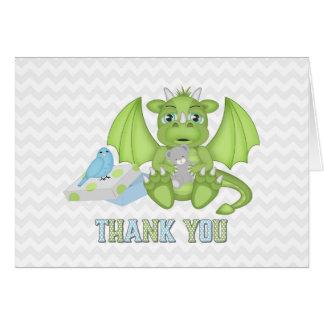 Cartões de agradecimentos dobrados dragão do bebê