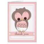 Cartões de agradecimentos doces da menina da coruj