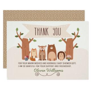 Cartões de agradecimentos dos animais da floresta convite 12.7 x 17.78cm