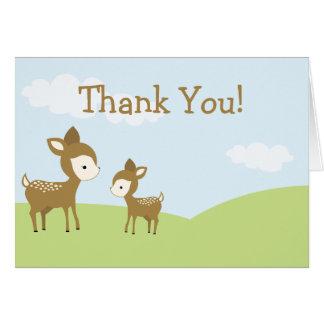 Cartões de agradecimentos dos cervos e da jovem co