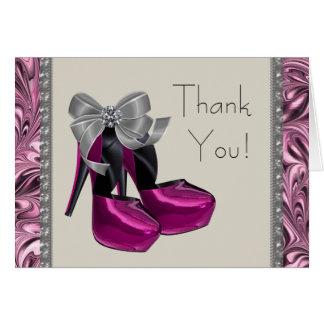 Cartões de agradecimentos dos saltos altos do rosa
