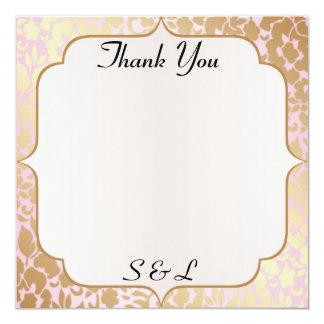 Cartões de agradecimentos dourados metálicos do convite quadrado 13.35 x 13.35cm