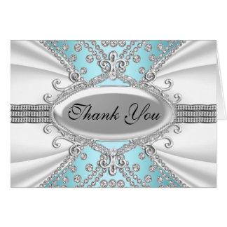 Cartões de agradecimentos elegantes do azul do