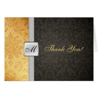 Cartões de agradecimentos elegantes do damasco do