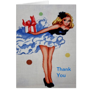 Cartões de agradecimentos femininos do tecido do