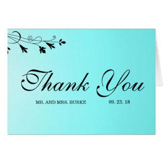 Cartões de agradecimentos florais azuis do