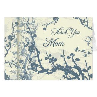 Cartões de agradecimentos florais azuis do dia do