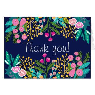 Cartões de agradecimentos florais brilhantes