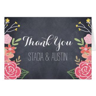 Cartões de agradecimentos florais brilhantes do ca