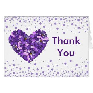 Cartões de agradecimentos florais com violetas