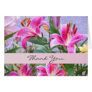 Cartões de agradecimentos florais cor-de-rosa