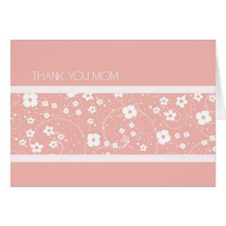 Cartões de agradecimentos florais cor-de-rosa do
