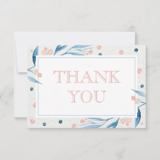Floral Watercolor Thank You Card, Blue, Pink