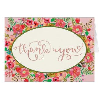 Cartões de agradecimentos florais da aguarela