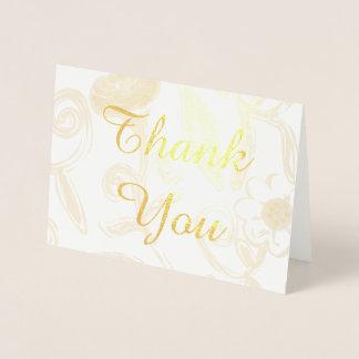 Cartões de agradecimentos florais da folha de ouro cartão metalizado